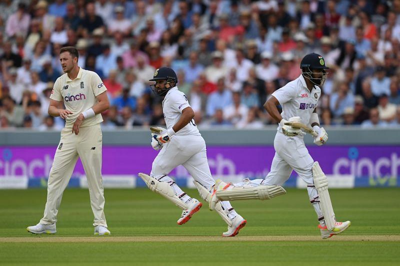 भारत के केएल राहुल-रोहित शर्मा और इंग्लैंड के ओली रॉबिनसन।