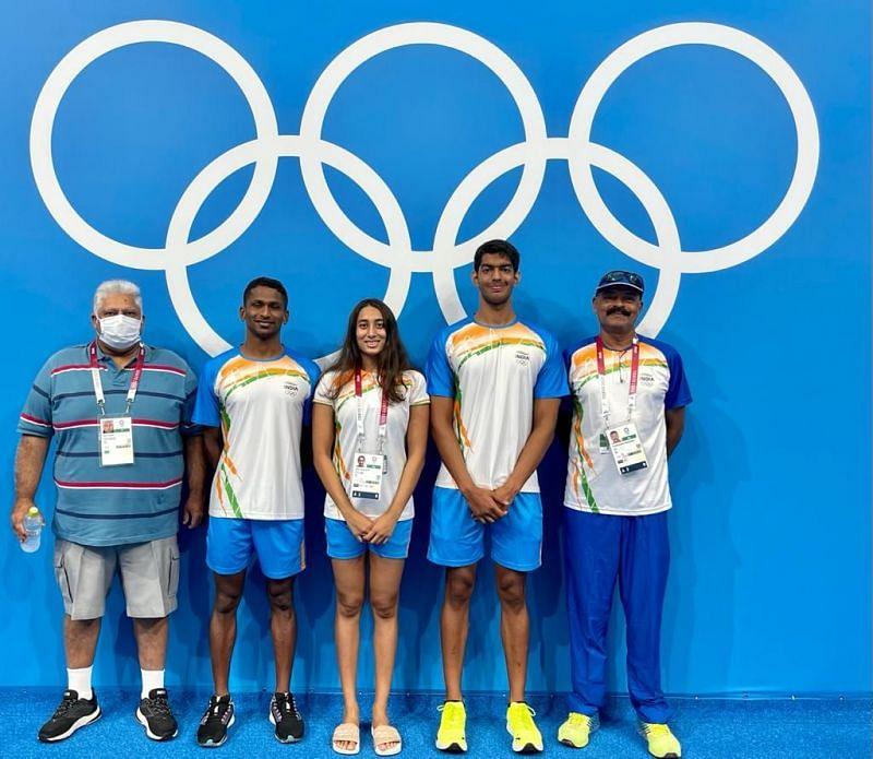 Indian swimmers Sajan Prakash, Maana Patel and Srihari Nataraj at the Tokyo Olympics