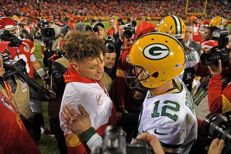 Patrick Mahomes & Aaron Rodgers - Green Bay Packers v Kansas City Chiefs