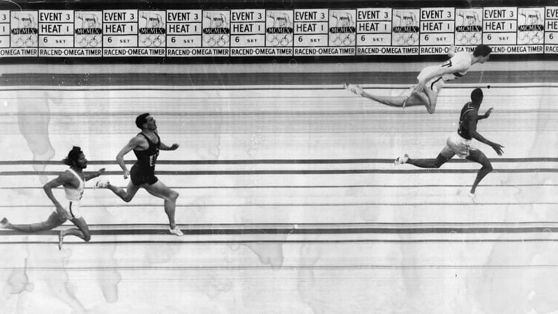 Milkha Singh at the finish line during the men's 400m at the 1960 Rome Olympics (Credits: https://olympics.com/)