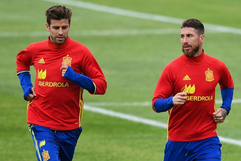 Pique and Ramos in Spain colors