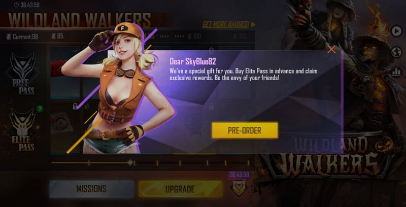 """Tap on the """"Pre-Order"""" button in this dialog box (Image via Free Fire)"""