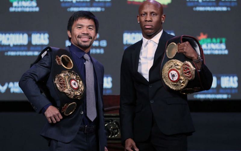 Manny Pacquiao (left); Yordenis Ugas (right)
