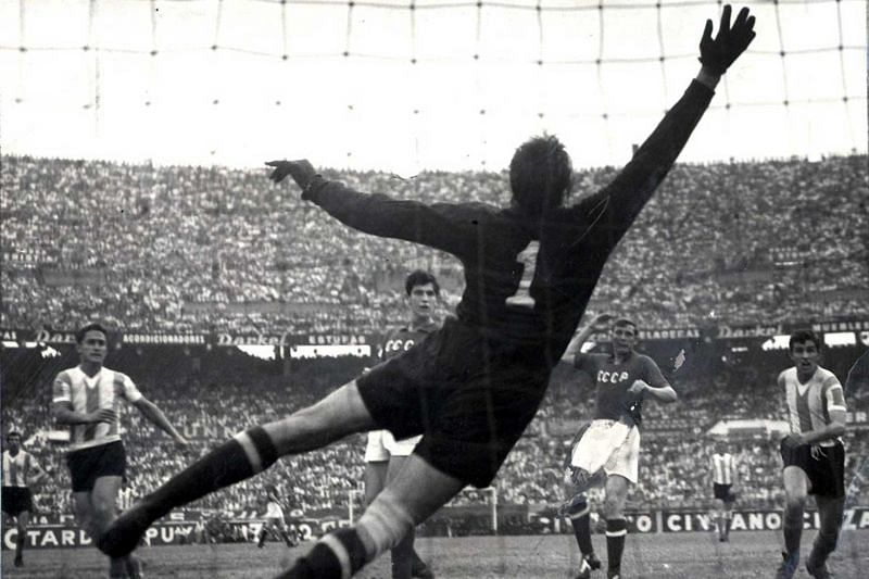Lev Yashin Makes a Save for the Soviet Union