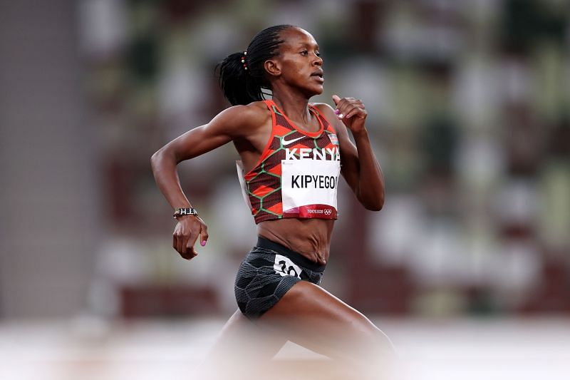Faith Kipyegon in action at the Tokyo Olympics 2021