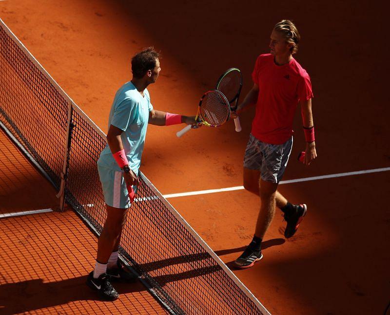 Rafael Nadal (L) and Sebastian Korda