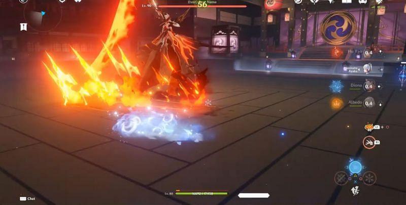 La Signora's second form dealing Pyro damage (Image via COPIUM Leeks, Youtube)