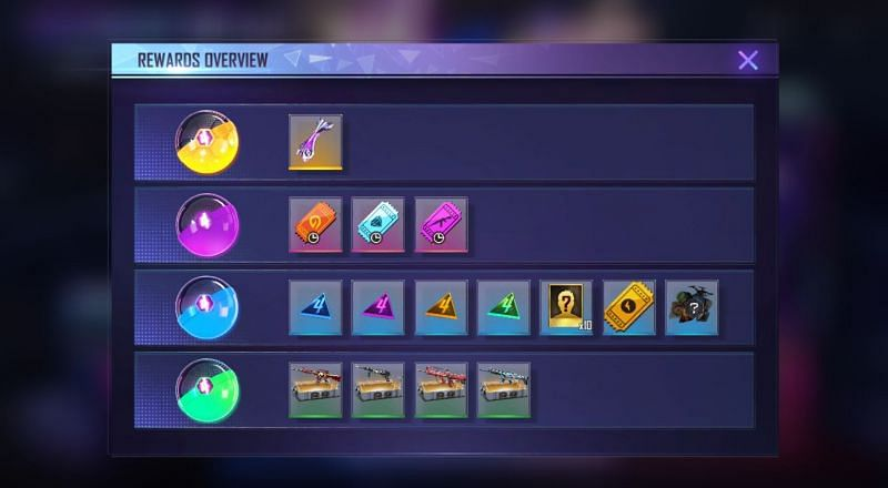 There are several rewards available in the Fragment Royale event (Image via Free Fire)
