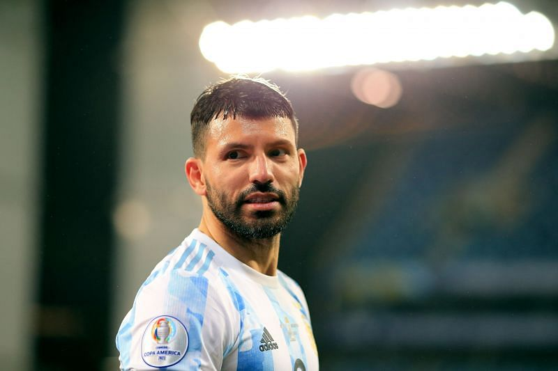 Sergio Aguero in action for Argentina at the 2021 Copa America