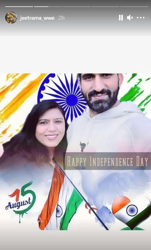 WWE में भारतीय रेसलर जीत रामा ने इंस्टाग्राम पोस्ट और स्टोरी के माध्यम से लोगों को स्वतंत्रता दिवस की शुभकामनाएं दी