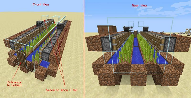 Sugarcane farms in Minecraft can be as large as the player desires (Image via stackexchange)