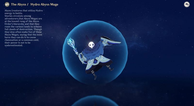 Hydro Abyss Mage in Archive (Image via Genshin Impact)