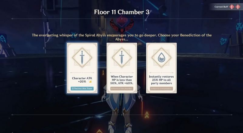 Bonuses for each floor, the Benediction of the Abyss (Image via Kekon, YouTube)