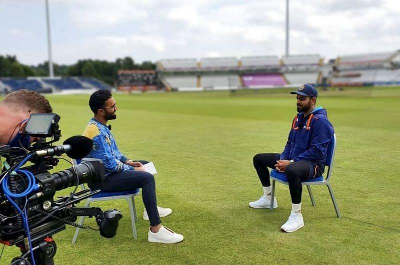 Dinesh Karthik interviewing Virat Kohli. (Photo: Dinesh Karthik's Instagram)