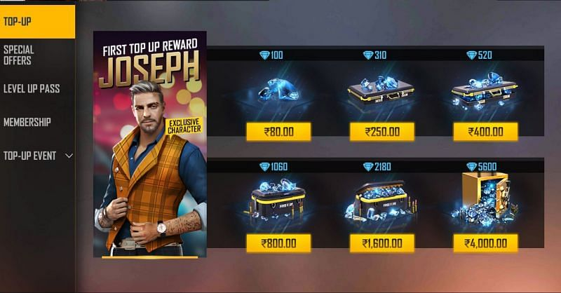The top up of 1060 diamonds itself costs more than INR 800 (Image via Free Fire)