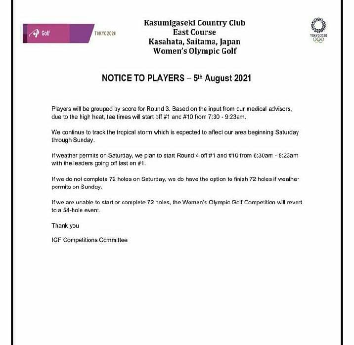 The official statement from the Kasumigaseki Country Club