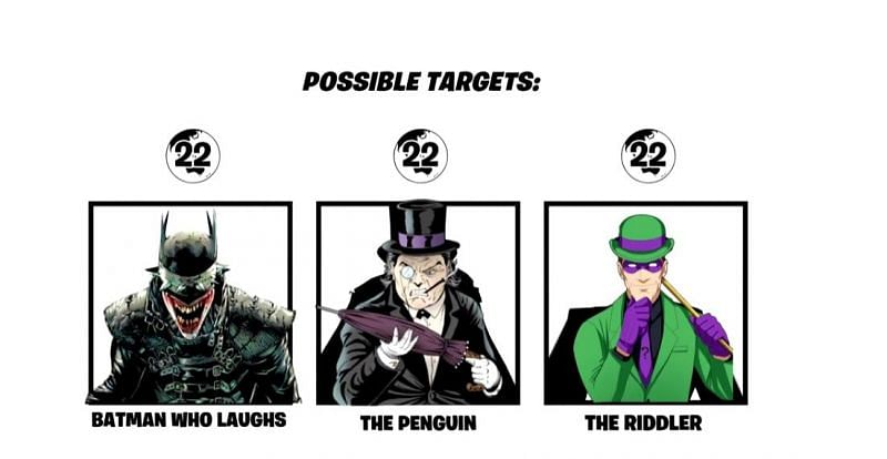 Batman Who Laughs, The Penguin, and The Riddler in Fortnite (Image via HappyPower/YouTube)