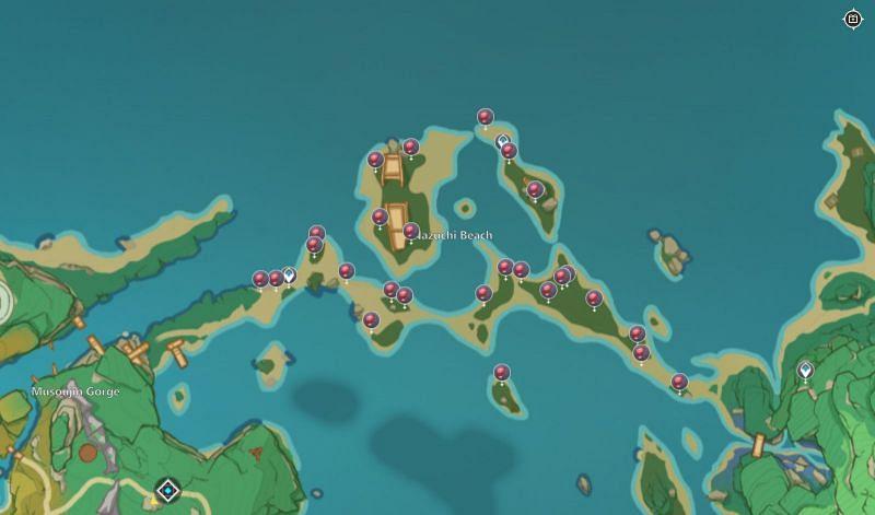 Ubicación de 26 Dendrobium en el mapa (imagen a través del mapa interactivo de DeWitt)