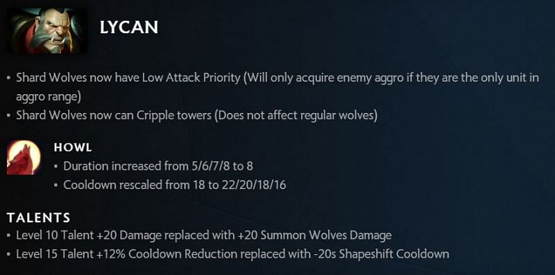 Lycan changes in 7.30 (Image via Valve)
