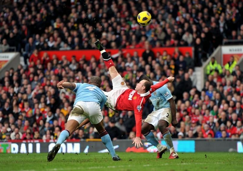 Wayne Rooney scores a goal from inside the penalty area from an overhead kick