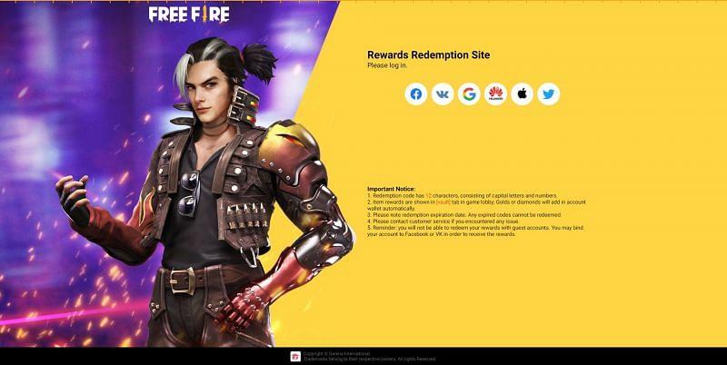 Los usuarios deben iniciar sesión utilizando una de las seis opciones enumeradas en el sitio web (Imagen a través de Free Fire)