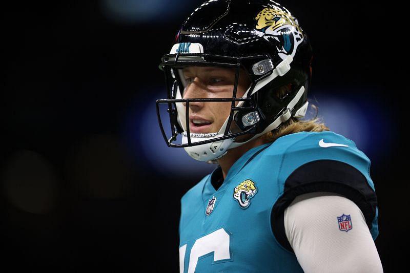 Trevor <a href='https://www.sportskeeda.com/player/trevor-lawrence' target='_blank' rel='noopener noreferrer'>Lawrence</a> of the Jacksonville Jaguars v New Orleans Saints