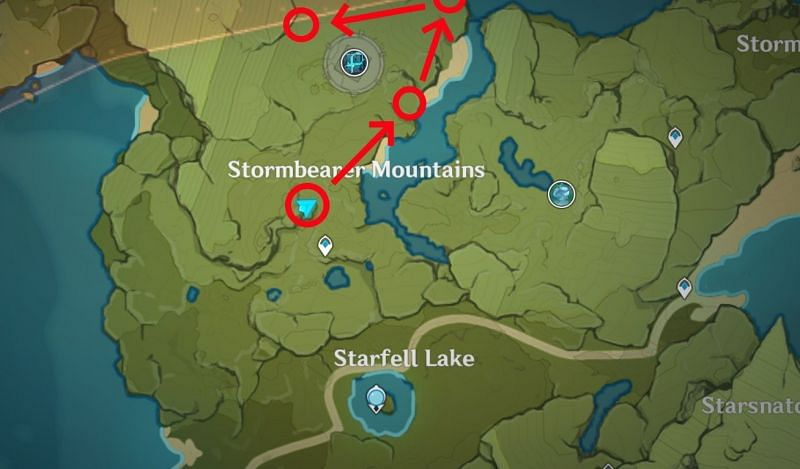 This map marks a good starting location (Image via Genshin Impact)