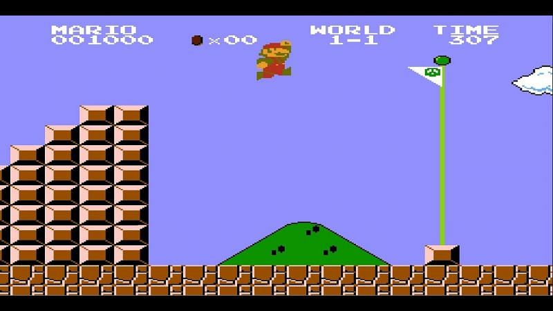 The end of the level in Mario has long been signified by the flag. Image via Nintendo
