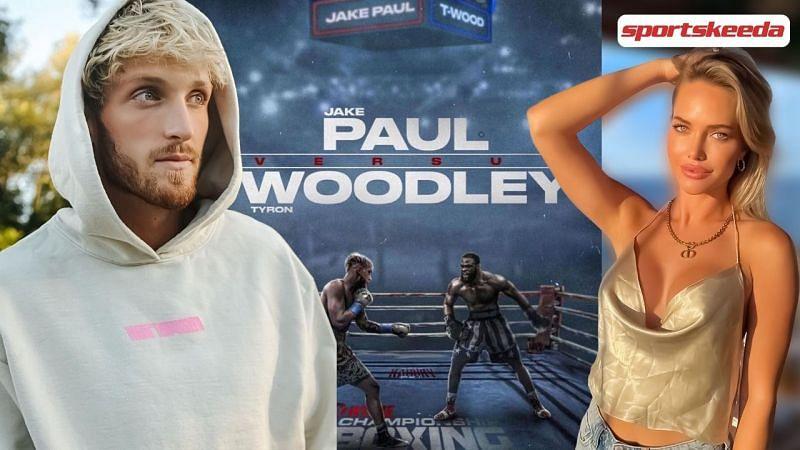 Logan Paul flirted with Kourtney Kellar during the Jake Paul x Tyron Woodley bout (Images via Sportskeeda and Instagram)