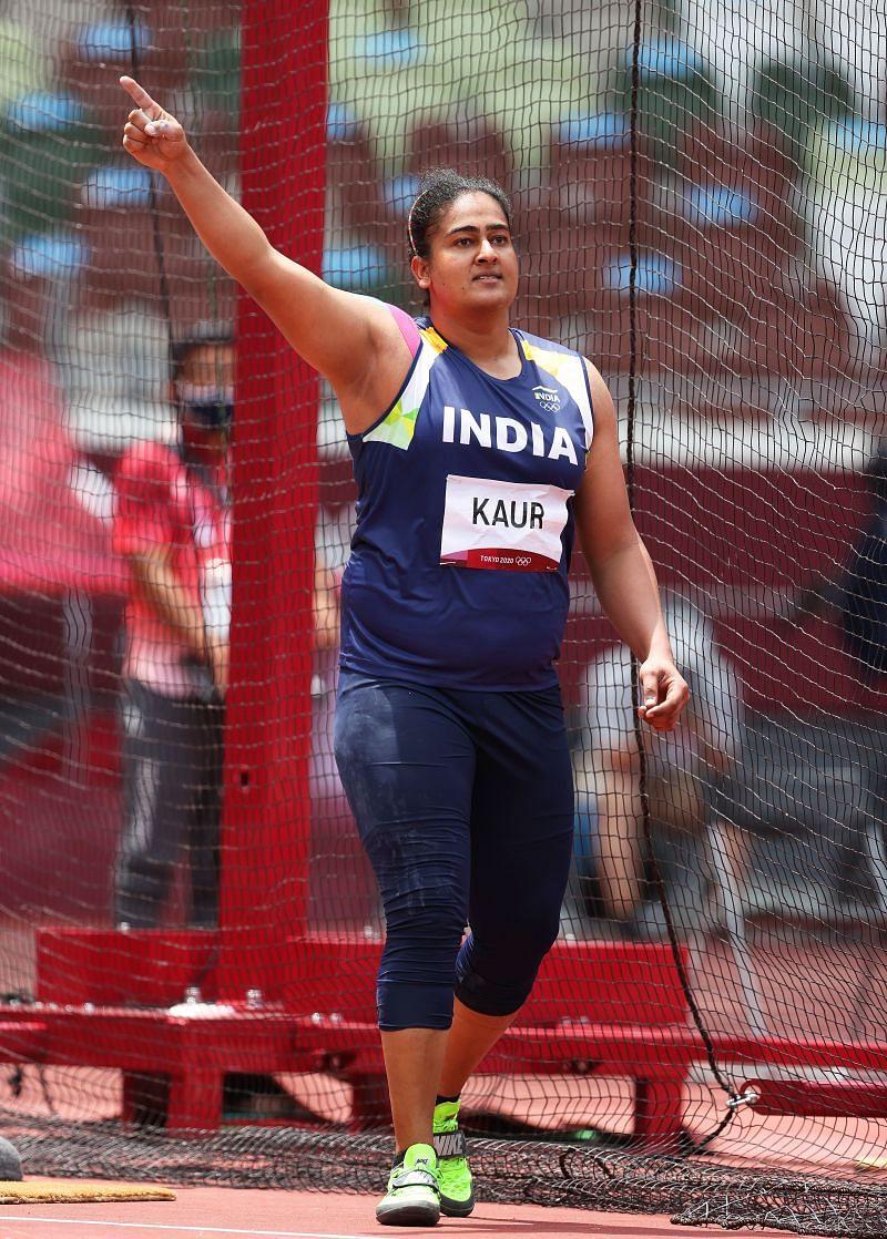 Kamalpreet Kaur in action during Day 8 of Olympics 2021