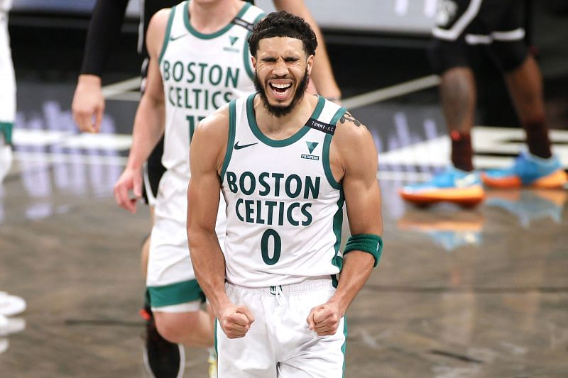 Jayson Tatum celebrates a bucket v Brooklyn Nets