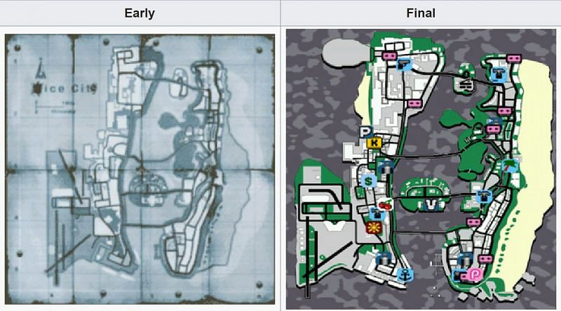 The beta GTA Vice City map is on the left, with the final map on the right (Image via TCRF)