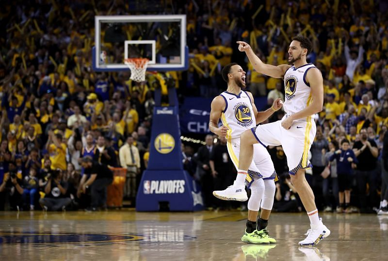 Golden State Warriors' legendary duo of Steph Curry (left) and Klay Thompson