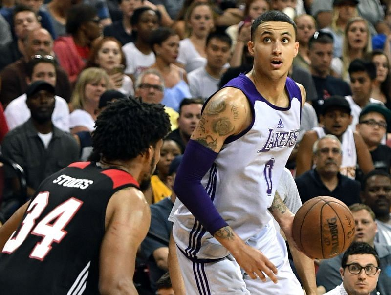 Kyle Kuzma in action in the 2017 Las Vegas Summer League - Los Angeles Lakers v Portland Trail Blazers