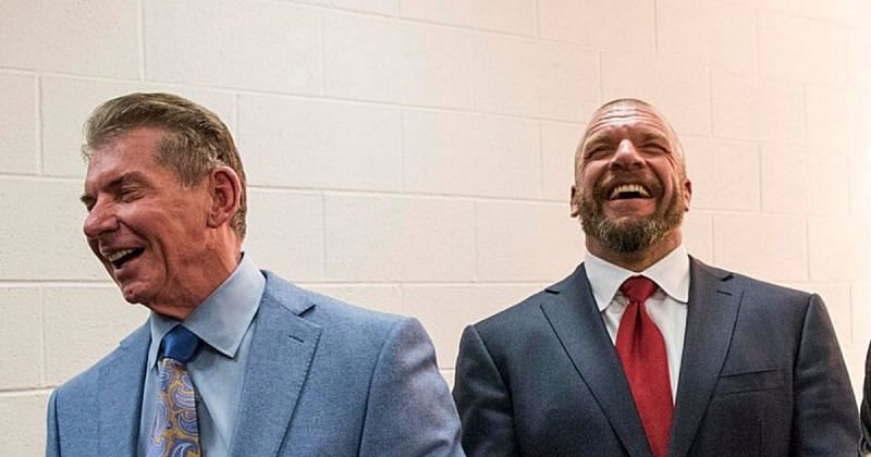 Vince McMahon and Triple H welcomed the superstar with hugs at Gorilla Position.