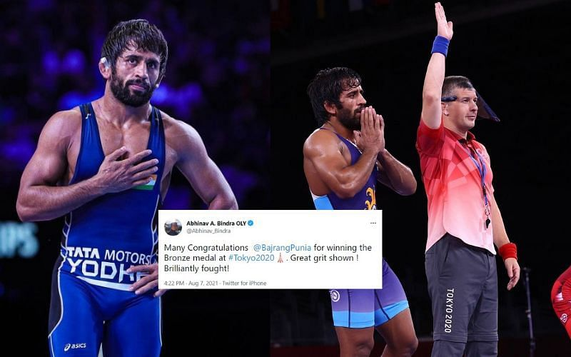 Indian grappler claims bronze at the Olympics [Image Credits: Bajrang Punia/Instagram, Team India/Twitter]