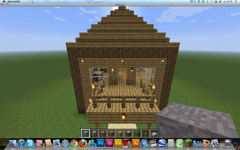 This Minecraft home uses fences to create a simple patio (Image via planetminecraft)