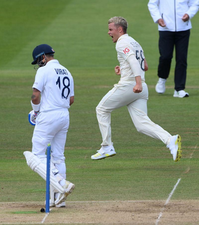 Sam Curran celebrates the wicket of Virat Kohli in the second Test.