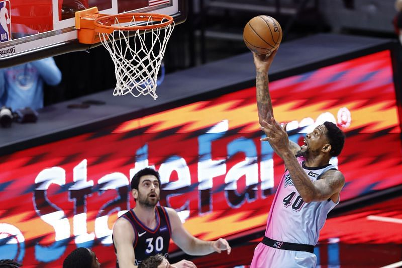 Udonis Haslem (#40) of the Miami Heat is the oldest active player in the NBA and could retire after the 2021-22 season
