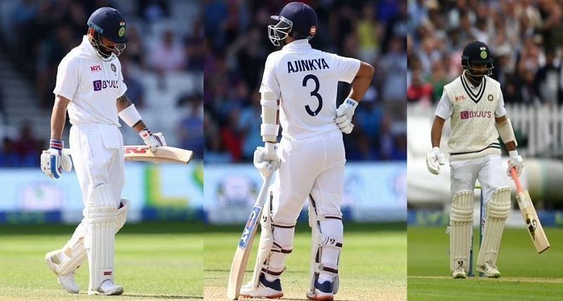 (L to R) Virat Kohli, Ajinkya Rahane and Cheteshwar Pujara. Pic: Getty Images