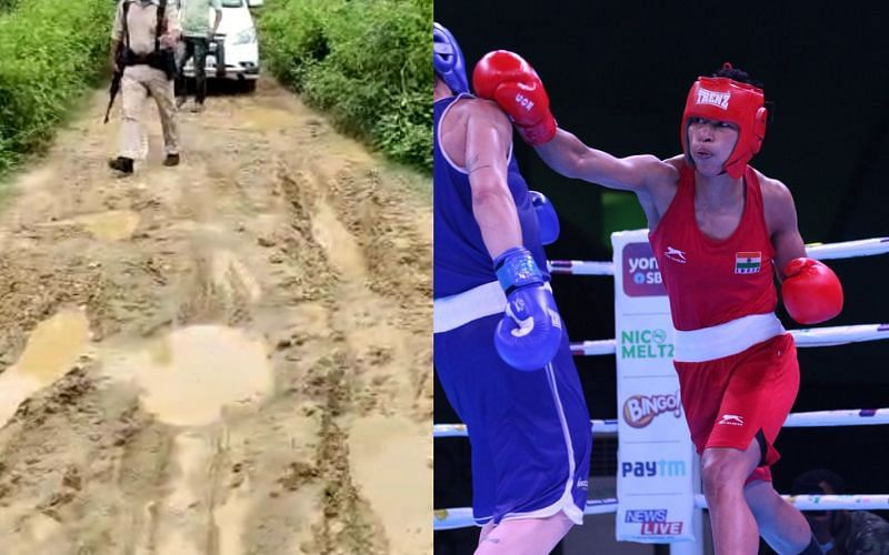 Indian boxer Lovlina Borgohain gifted a new road to her home [Image Credits: Team India, Biswajit Phukan/Twitter]