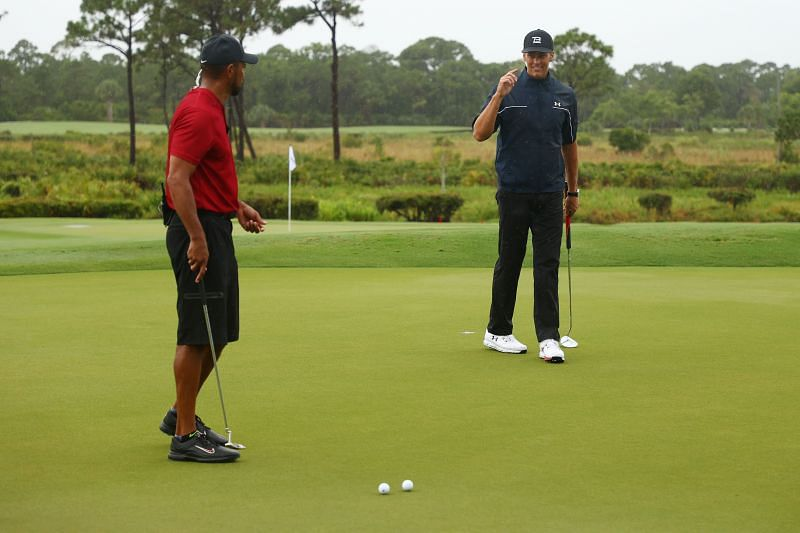 Tom Brady (right) and Tiger Woods - The Match: Champions for Charity