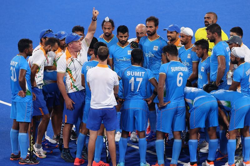 Indian hockey team during the quarter-final against Great Britain.