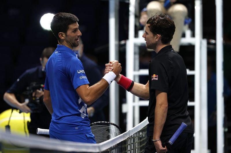 Novak Djokovic (L) and Dominic Thiem at the 2020 ATP Finals