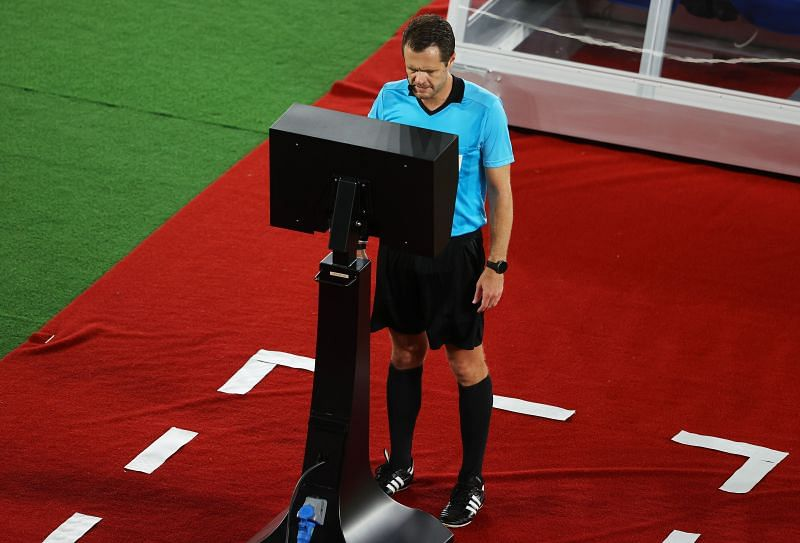 Chris Beath consulted the Video Assistant Referee before awarding a penalty to Brazil