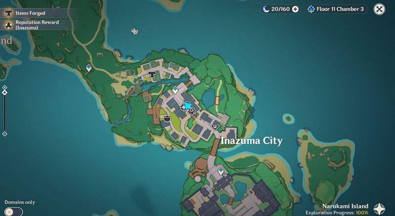 Ubicación de Shimura Kanbe en el mapa (Imagen a través de Jinshin Impact)