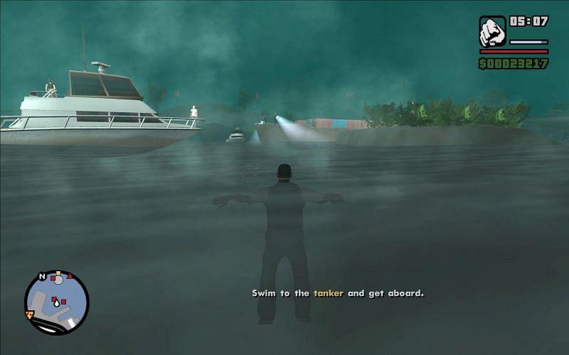 CJ, swimming in place (Image via Rockstar Games)