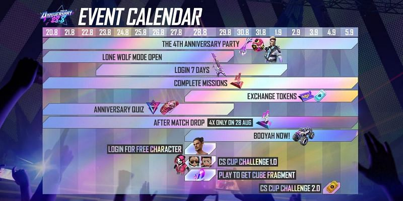 The event calendar for Free Fire's 4th anniversary starting 28 August