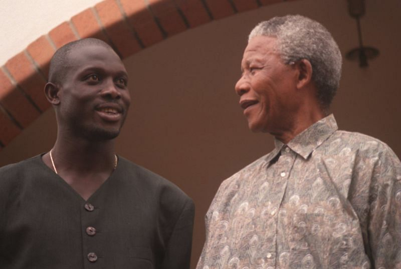 George Weah and Nelson Mandela