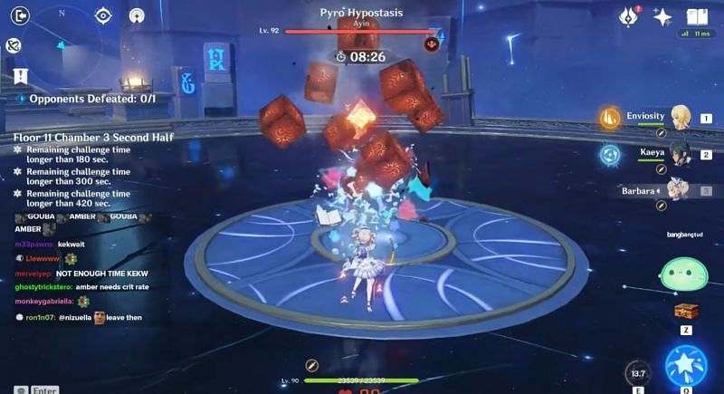 Barbara reducing Pyro Hypostasis's shield (Image via Enviosity, Youtube)